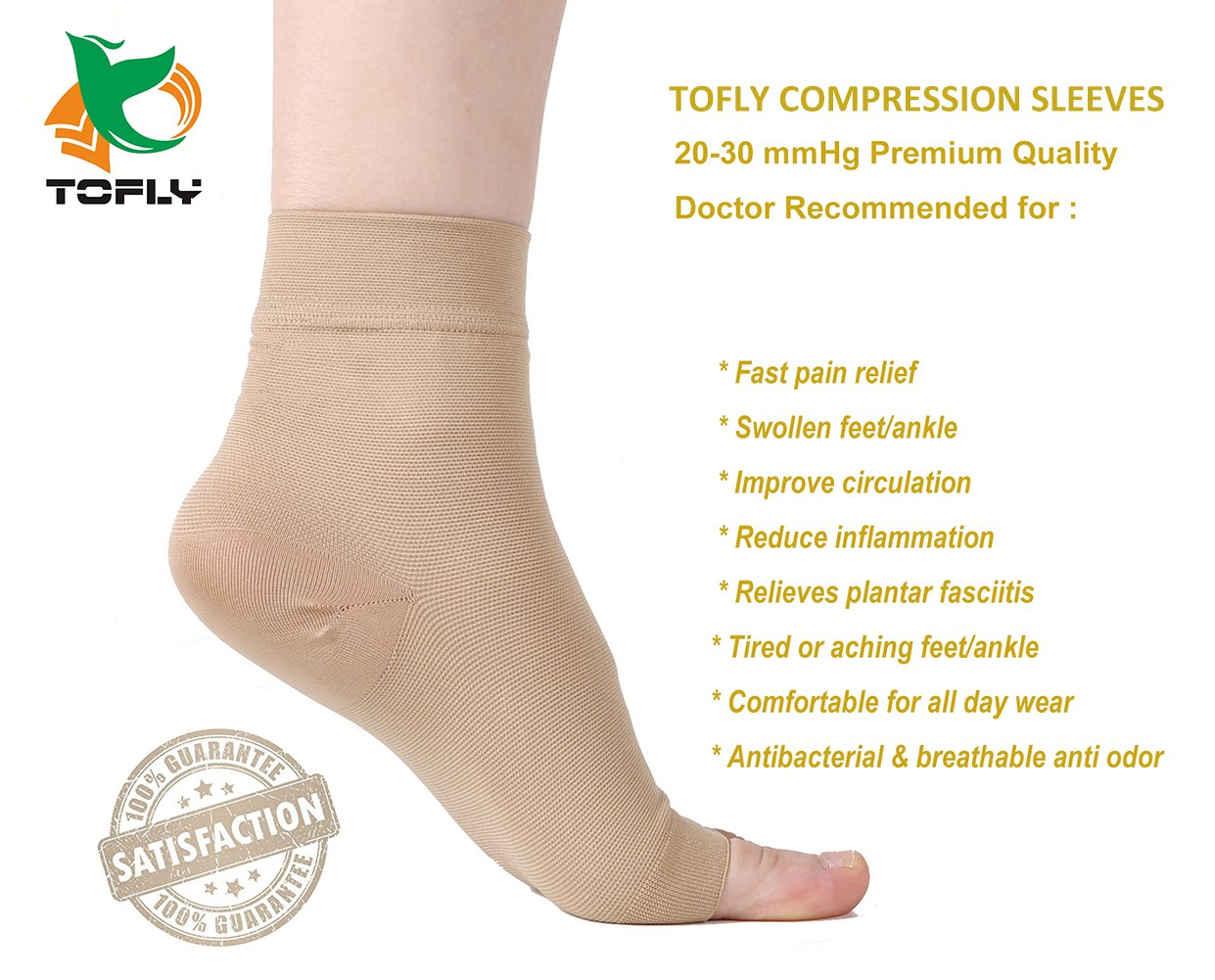 Plantar Fasciitis Socks, (1 pair) Foot Care Compression Sock for Arch Support Women Men, TOFLY Foot Compression Sleeve for Ankle Brace Support, Injury Recovery, Eases Swelling, Relieves Pain Beige L by TOFLY (Image #6)