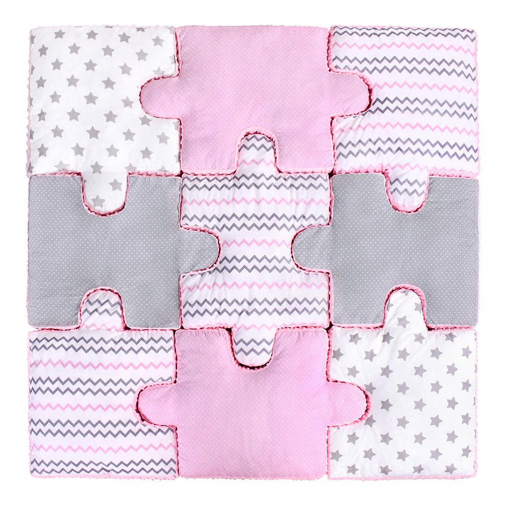 LULANDO Set of 9 Puzzle Pillows for Children Soft Plush and Safe Play Mat 100% Cotton and Minky Material Anti-Allergic Filling, Farbe:Pink