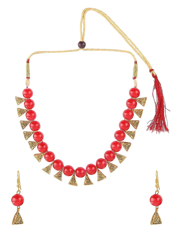Boho Vintage Oxidized Multicolour Fashion Choker Necklace Earring Jewellery Set