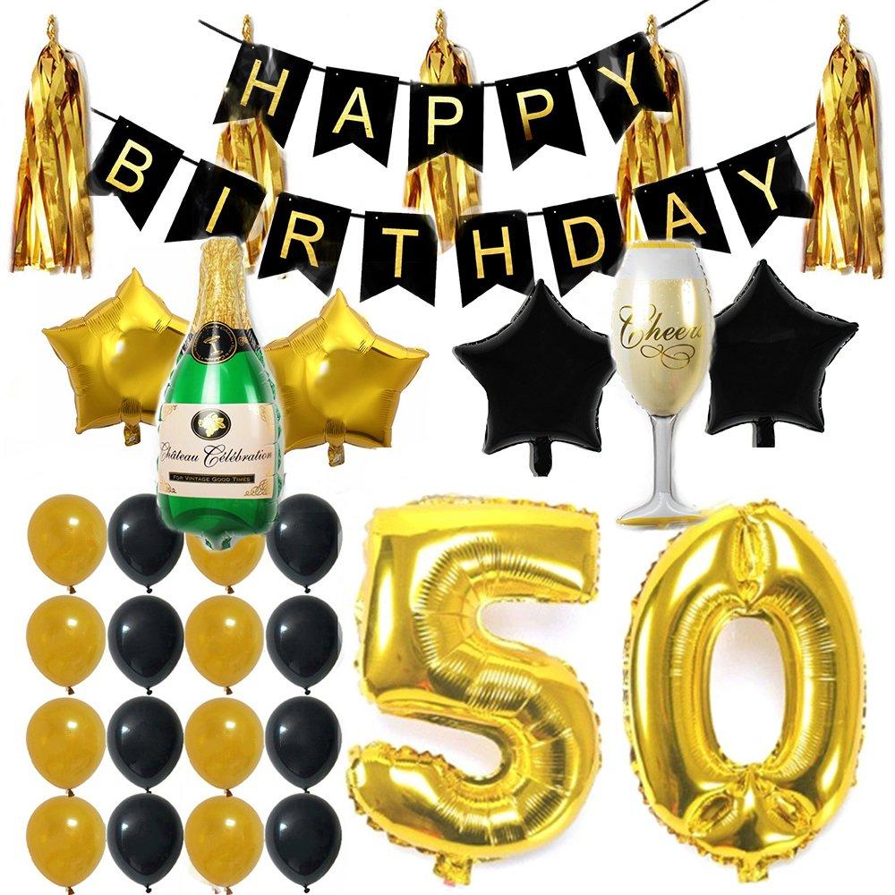 ezing 35pcsパーティーSupplies Decorationsキットパック、Happy誕生日バナーをラテックス&スターホイルバルーンfor 21st 30th 40th 50thテーマ Balloon-28fba C  B0786SVN1R