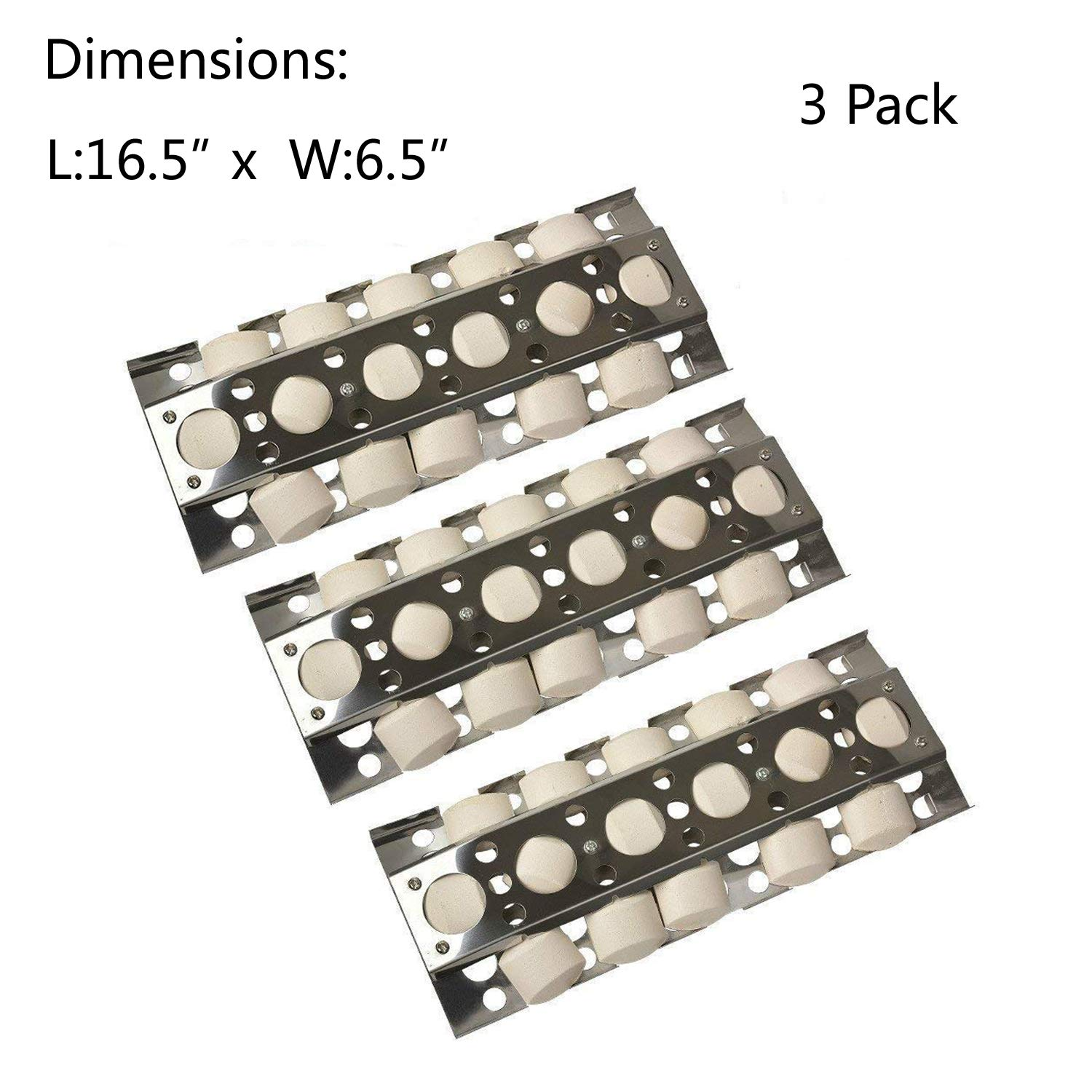 GasSaf Heat Plate Replacement for Select Turbo Gas Grill Models, 16.5 inch 3-Pack Stainless Steel Heat Plate, Heat Tent, Burner Cover, Vaporizor Bar and Flavorizer Bar(16 1/2x 6 1/2inch)(3-Pack)  by GasSaf (Image #1)