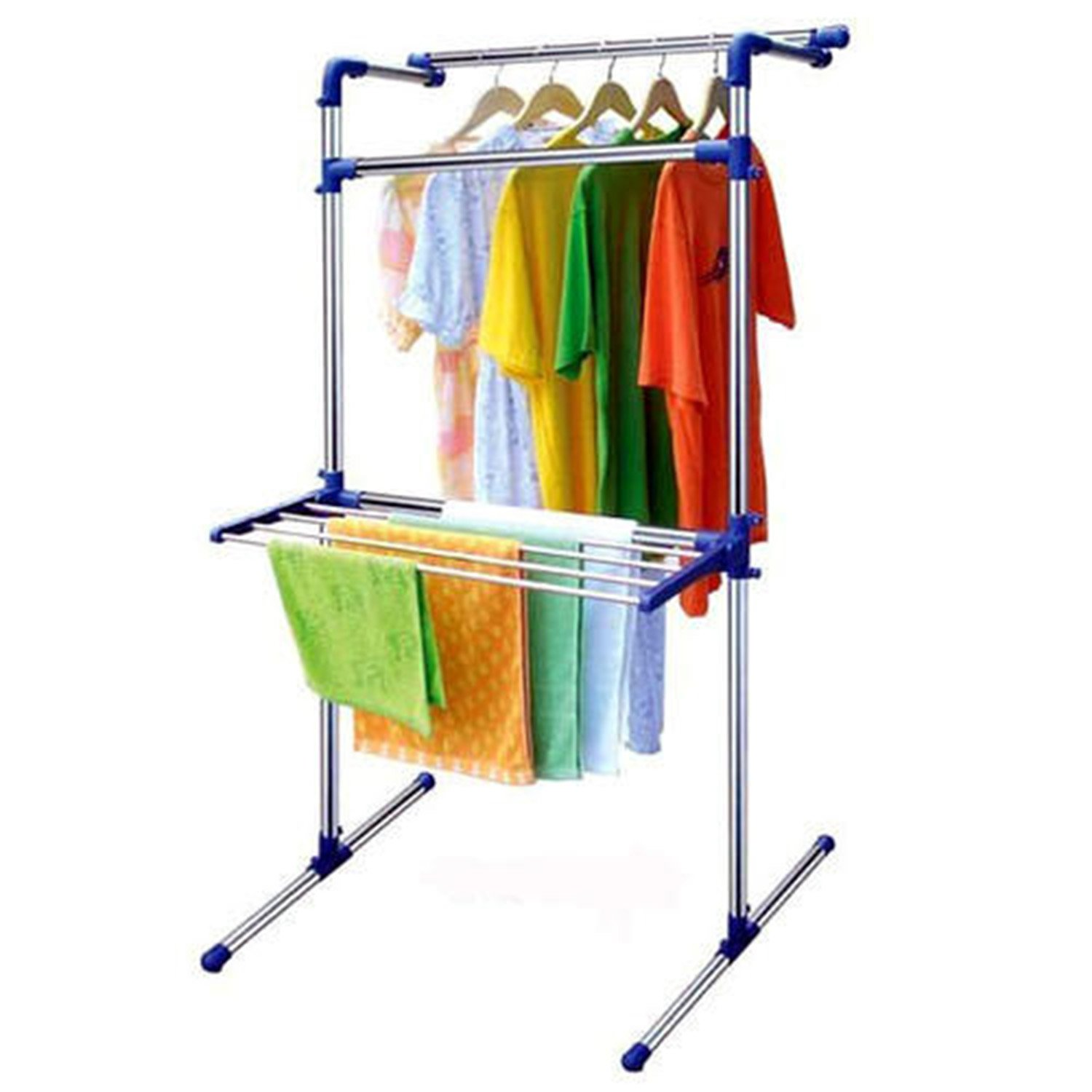 Hanger Stainless Steel Portable Multifunctional Cloth Dryer Stand Standing Multifunction 147x72x78cm Blue Home Kitchen