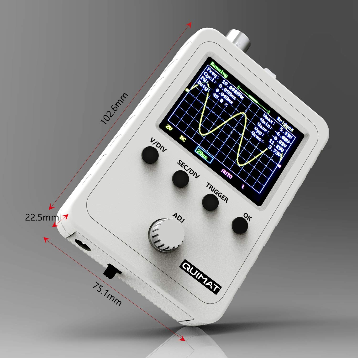 Assembled Finished Machine Quimat Updated 2.4 TFT Digital Oscilloscope Kit with Power Supply and BNC-Clip Cable Probe Q15001