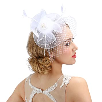 Amazon.com   Valdler Women  s Leather Headpiece White Fascinator Hat ... f7b8da06281