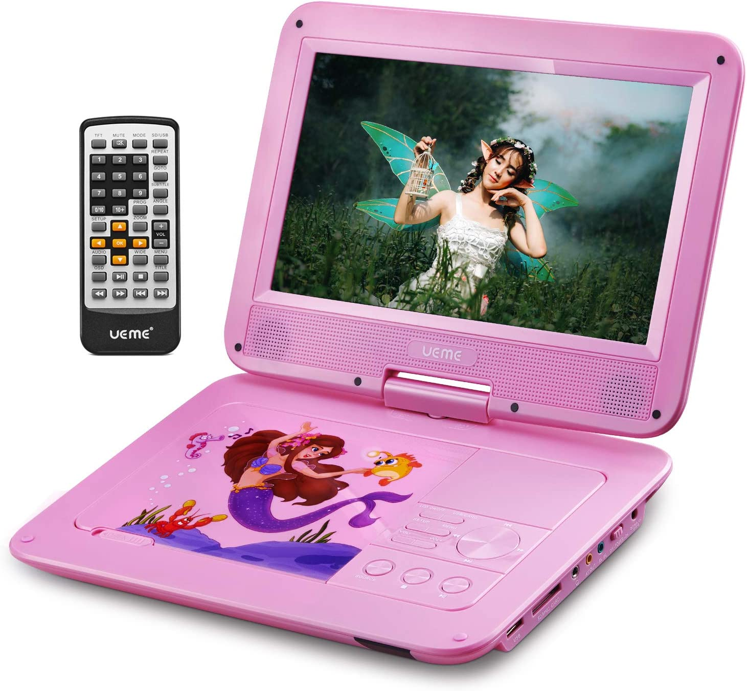 UEME Portable DVD Player with 10.1 Inches HD LCD Screen, Car Headrest Mount Holder, Remote Control