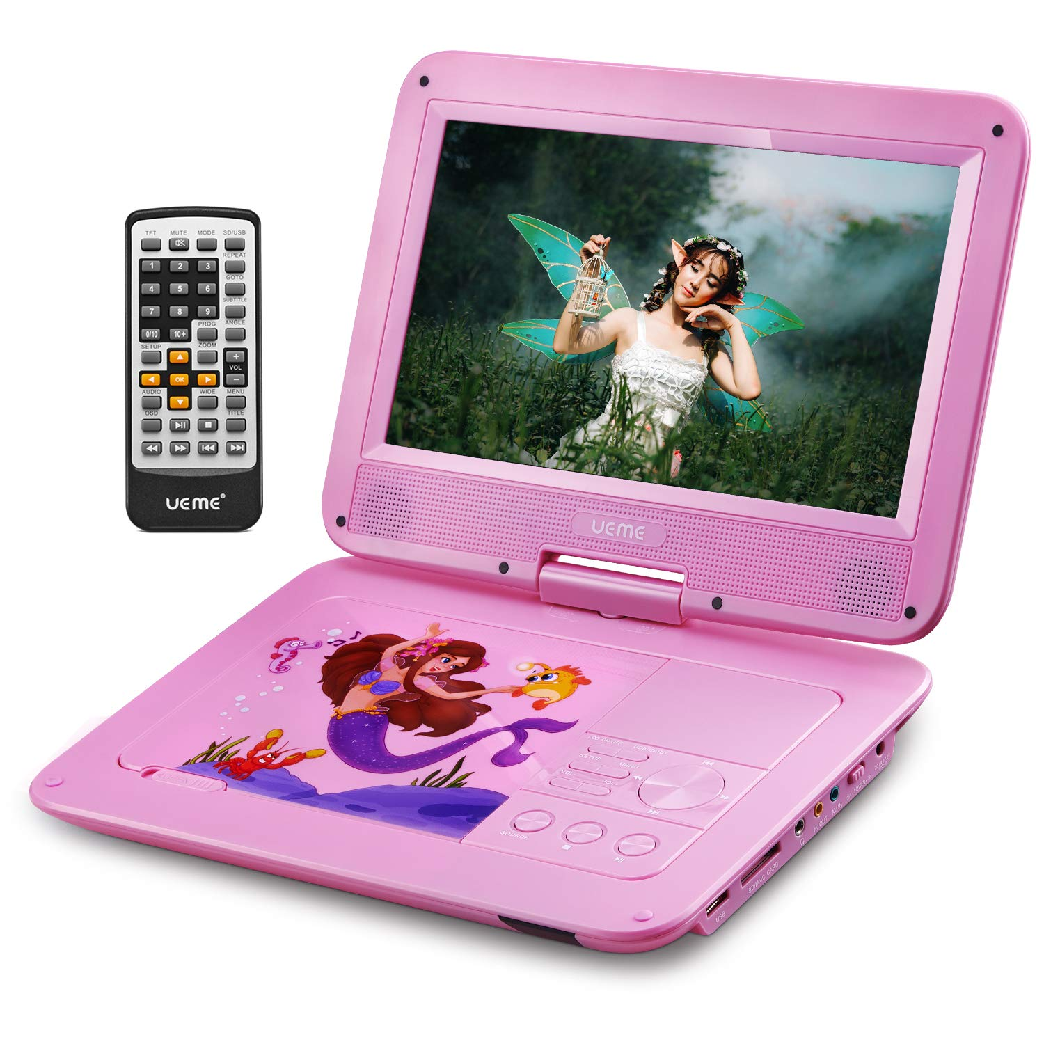 UEME Portable DVD CD Player with 10.1 Inches Screen, Car Headrest Holder, Remote Control, Rechargeable Battery, Car Charger, Wall Charger, Personal DVD Players PD-1010 (Pink)