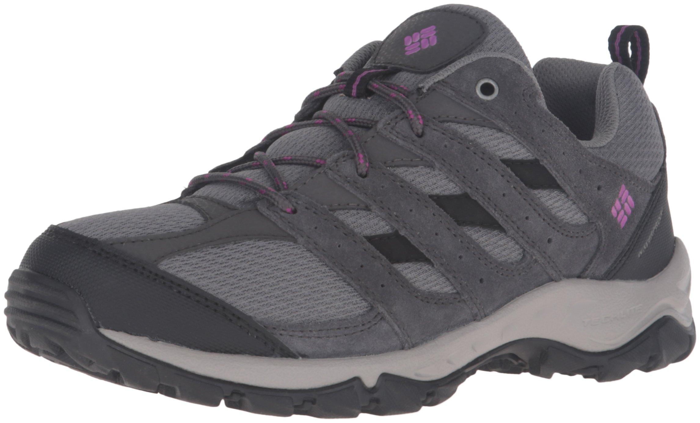 Columbia Women's Plains Butte Waterproof Hiking Shoes, Quarry/Intense Violet, 5 B US