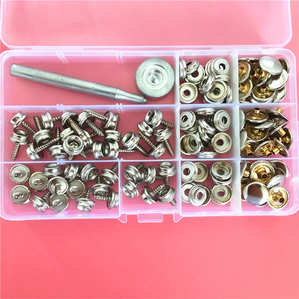 ECOLOG 40 Set Snap Button Fastener Kit Screw Snaps Marine Grade Canvas Snaps with 2Pcs Setting Tool and Organizer Storage Case