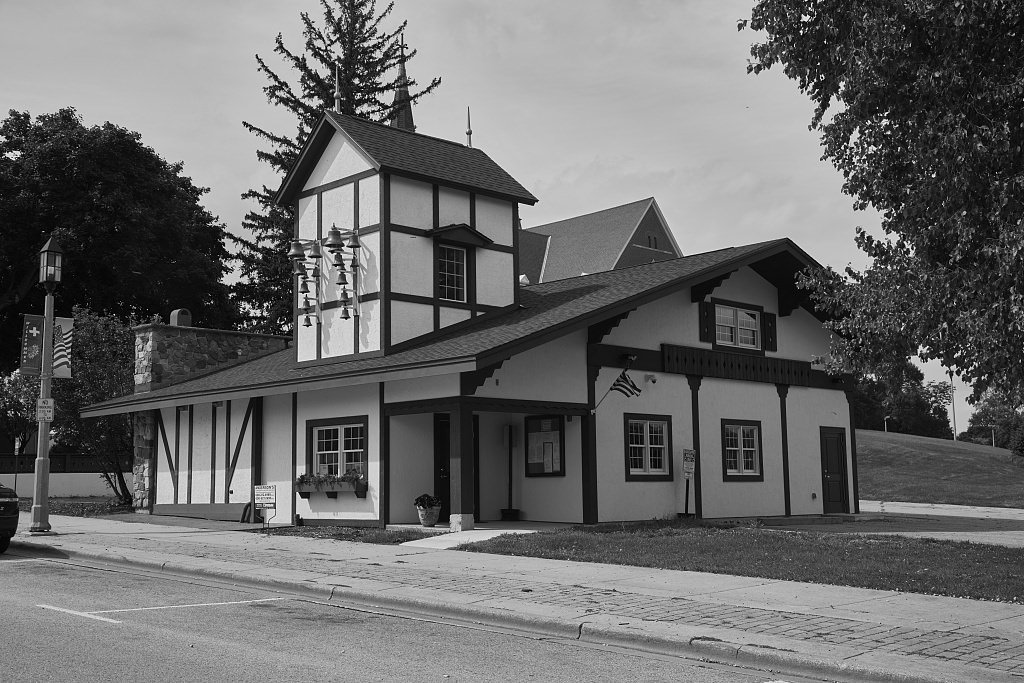 Vintography 18 x 24 B&W Photo Swiss-Style Building in New Glarus, Wisconsin, a Town That Calls Itself America's Little Switzerland 2016 Highsmith 49a