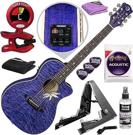 Luna Flora Passion Flower Guitarra acústica eléctrica (morado ...