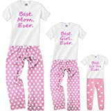 Footsteps Clothing Personalized Best Ever Matching Mom Daughter Pink Pajamas