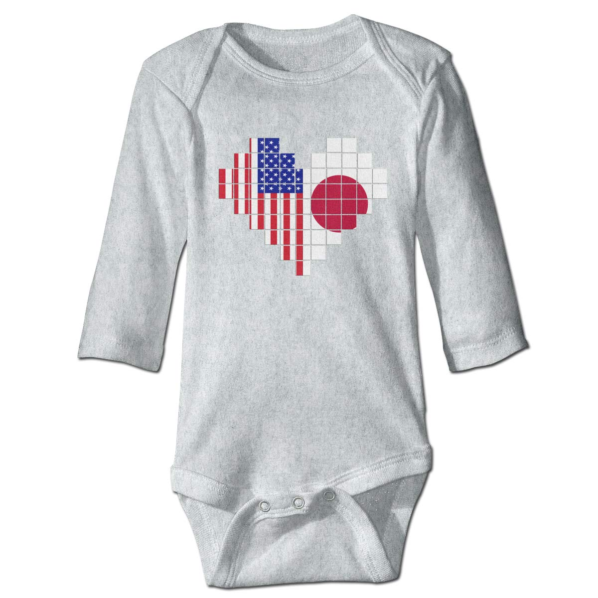A14UBP Baby Infant Toddler Long Sleeve Romper Bodysuit American Flag Japan Flag Puzzle Heart Playsuit Outfit Clothes