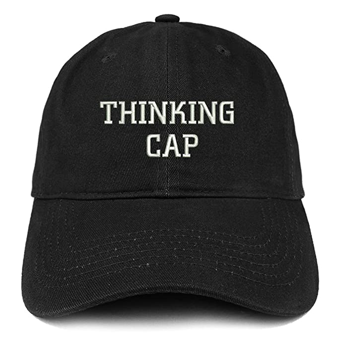 37b67edf15b Trendy Apparel Shop Thinking Cap Embroidered Dad Hat Adjustable Cotton  Baseball Cap - Black