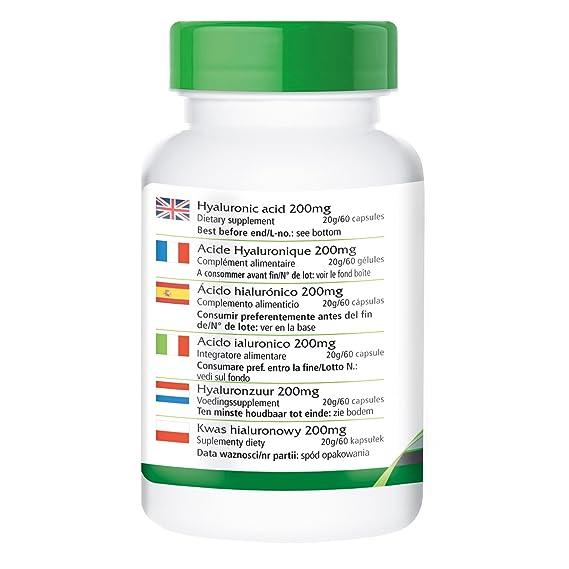 200 mg de ácido hialurónico - para 1 mes - VEGANO - Alta dosificación - 60 Cápsulas: Amazon.es: Salud y cuidado personal