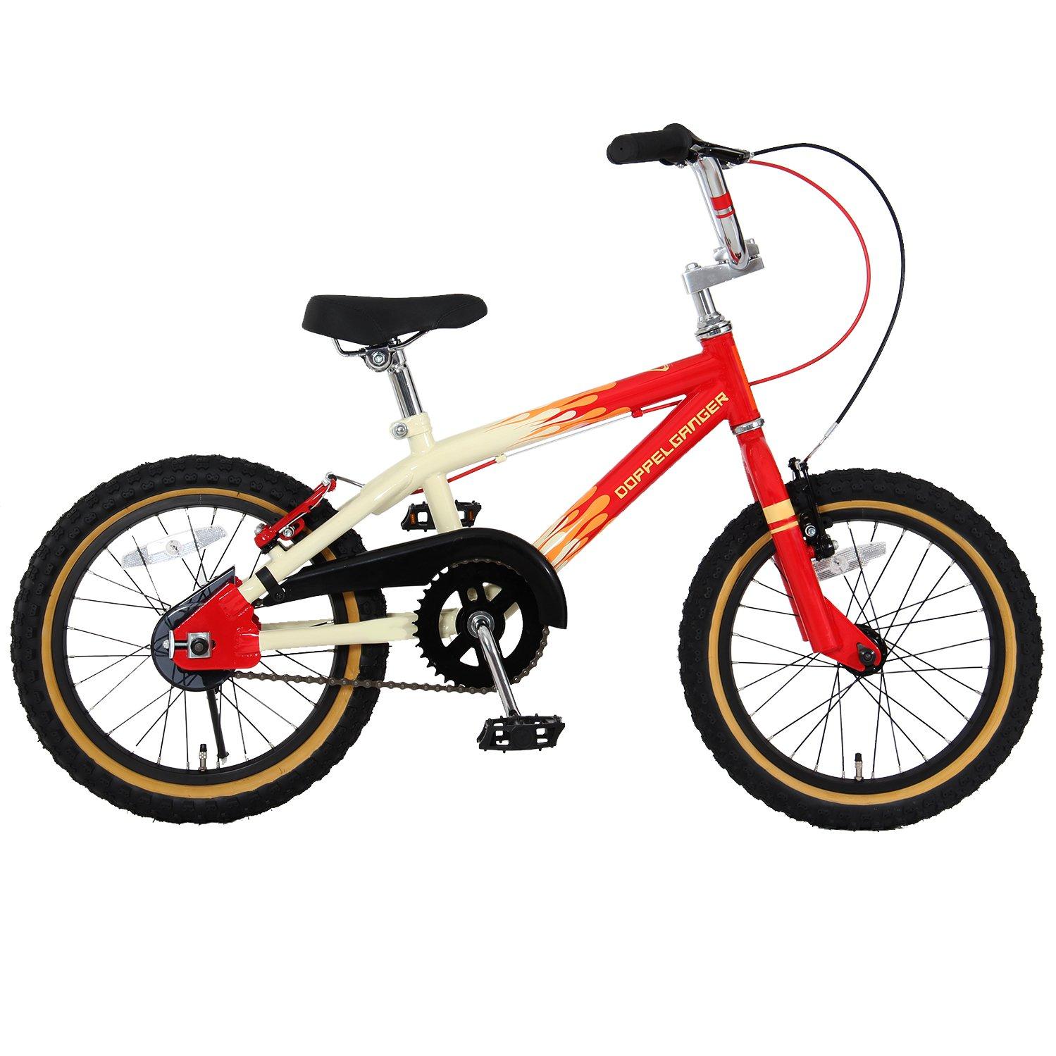 DOPPELGANGER(ドッペルギャンガー) 16インチ子ども用自転車 [付け替えできる補助輪/スタンド付属] 前後V型ブレーキ [適応身長目安:110cm~] ファイヤパターン DXR16-FR ホワイト B07591Y8ZM