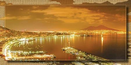 Lupia Quadro Moderno Con Cornice Extension 77x143 Cm Napoli Notte Oro Amazon It Casa E Cucina