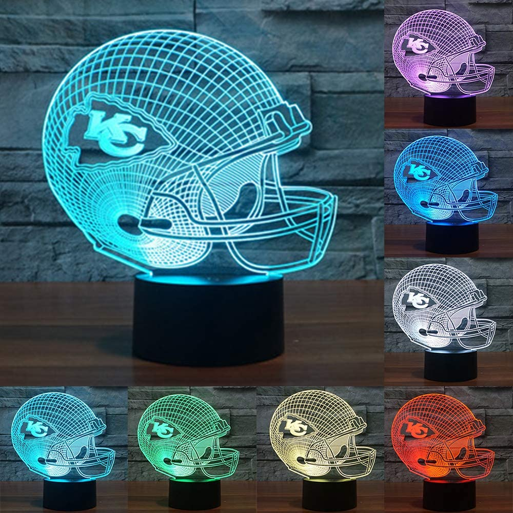 Football Cap Team Logo 3D Lamp Table NightLight 7 Color Change Football LED Desk Light Touch Multicolored USB Power As Home Decoration Lights Tractor for Boys Kids (Touch) (Kansas City Chiefs)
