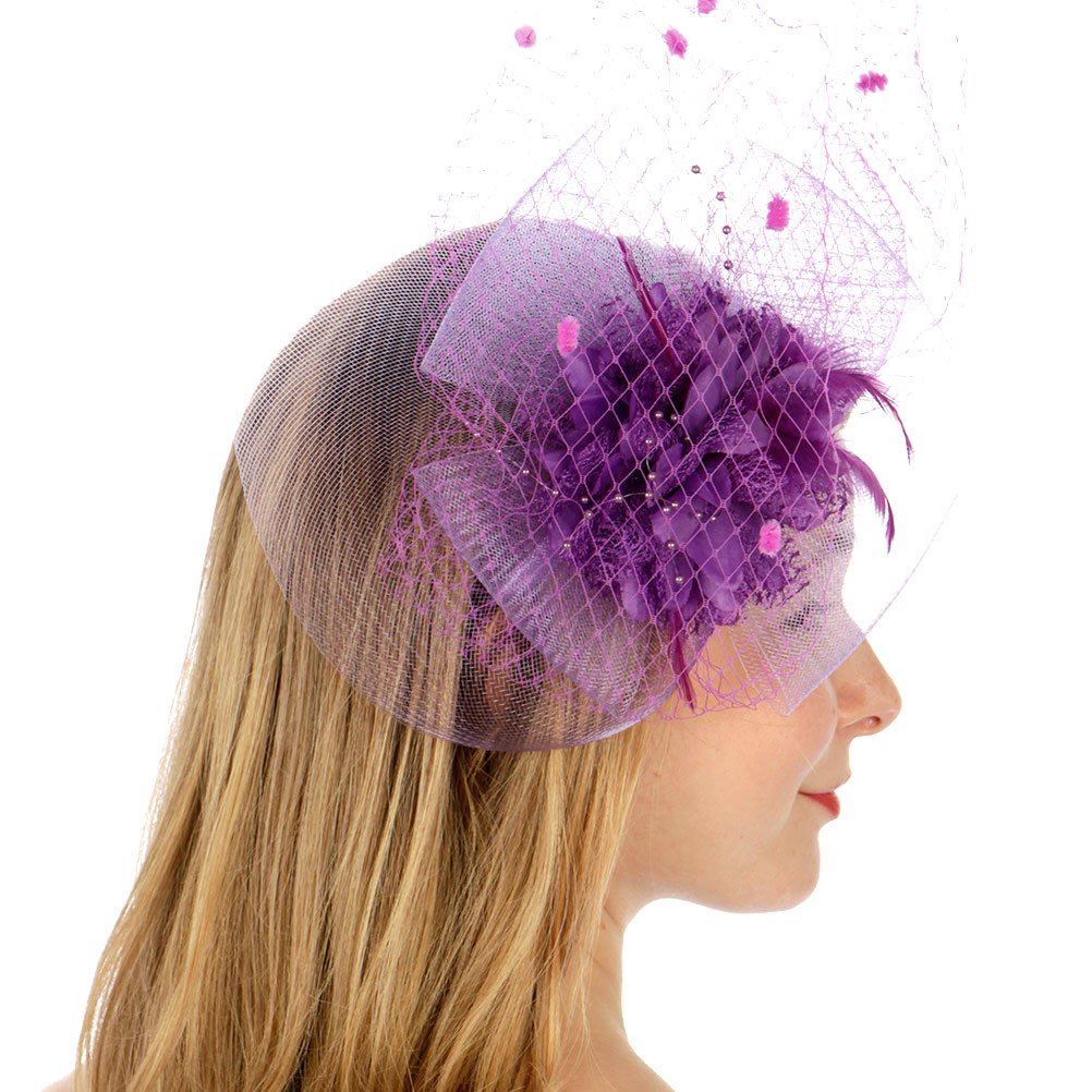 SERENITA Fascinator for Women, with Lace Flower Dress Hat, Wedding & Party by SERENITA (Image #3)