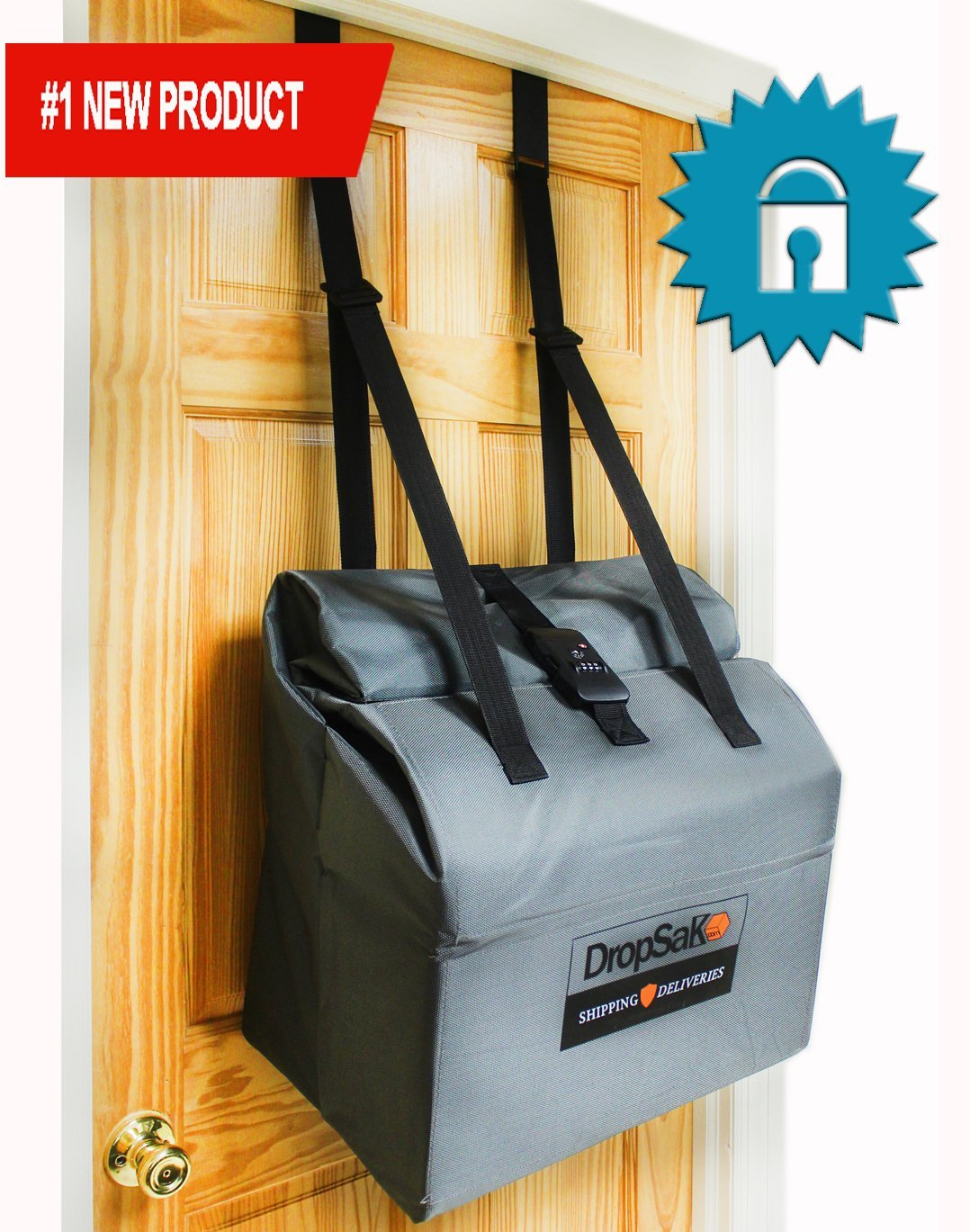 First Ever Secure Large Capacity Over Front Door Removable Package Drop Box/Mailbox with Combination Lock - DropSak Ultra. Prevents Package and Identity Theft.