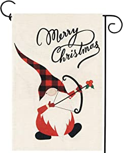 Christmas Gnomes Garden Flag Outside Double Sided Merry Christmas Small Burlap Yard Outdoor Decor 12.5 x 18 Inches