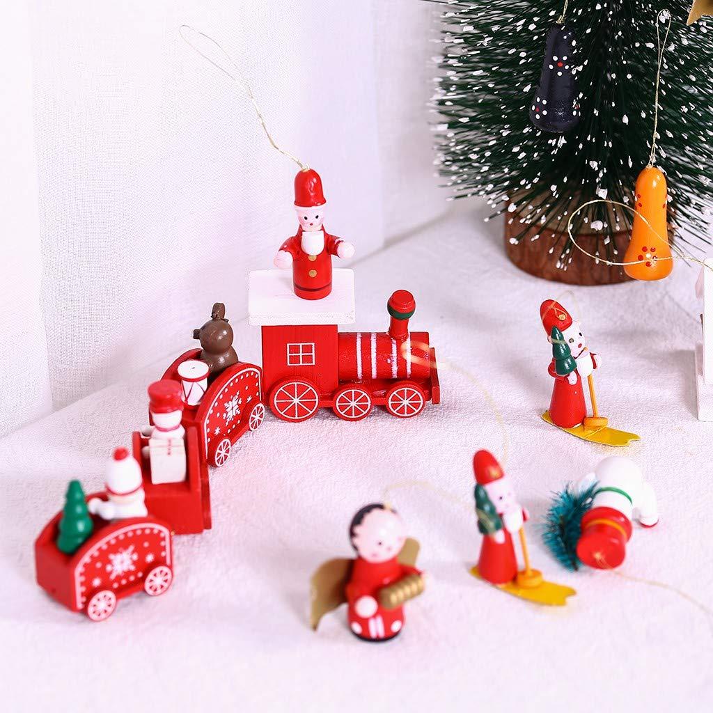 TianranRT❂ Tren de Navidad,Tren de Madera Interesante Pintura de ...