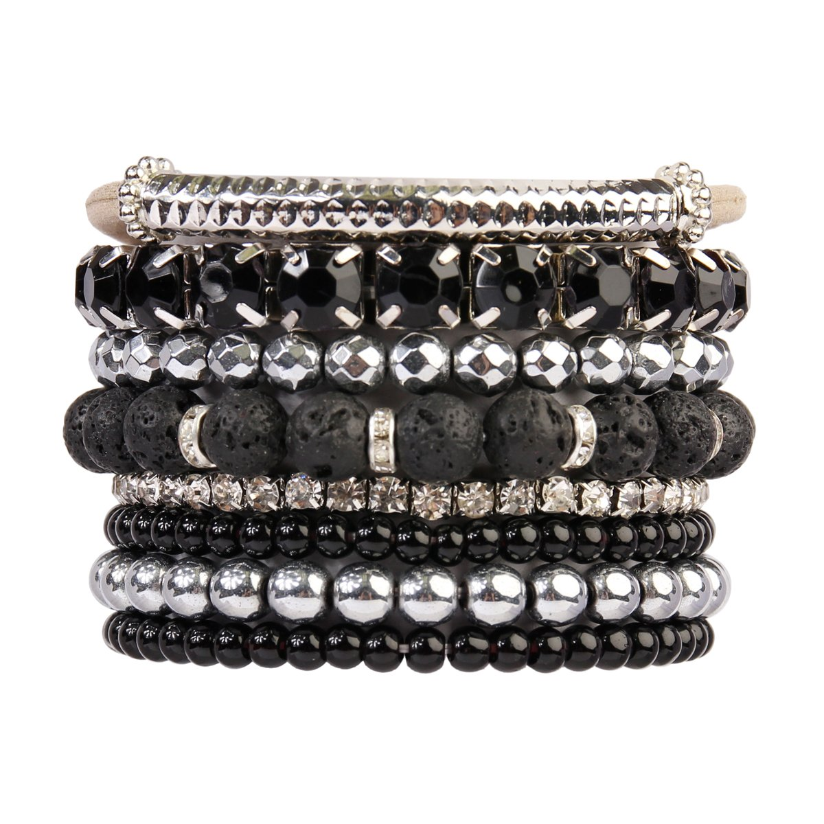 RIAH FASHION Multi Color Stretch Beaded Stackable Bracelets - Layering Bead Strand Statement Bangles (Lava Silver)