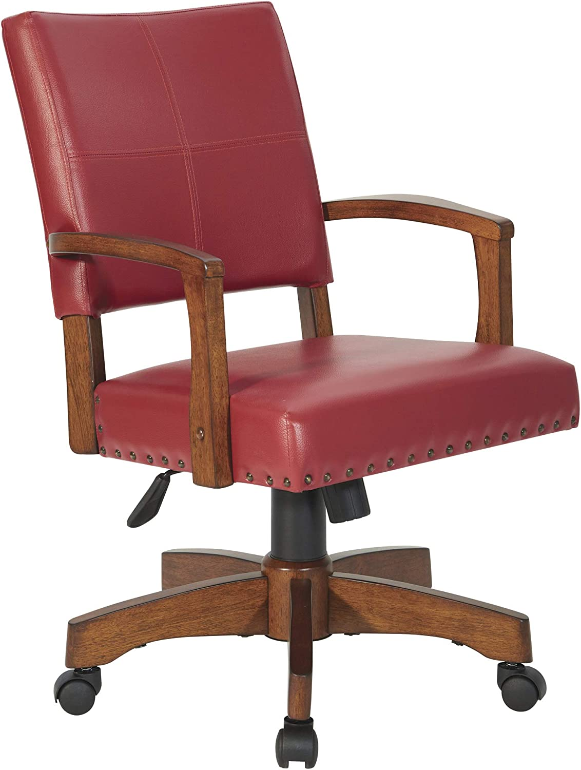 OSP Home Furnishings Deluxe Wood Bankers Desk Chair with Faux Leather and Antique Bronze Nailheads, Red