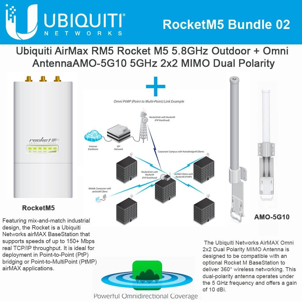 Ubiquiti RocketM5 Outdoor BaseStation X 1 + Omni AMO-5G10 10dBi Dual Antenna X 1 by Ubiquiti Networks