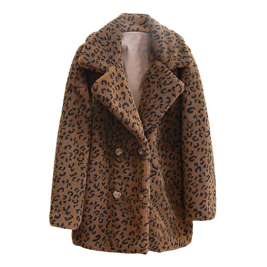 Fashionhe Women Jacket Leopard Print Outwear Autumn and Winter Casual Loose Short Windbreaker Lamb Coat(Dark Khaki.S) by Fashionhe