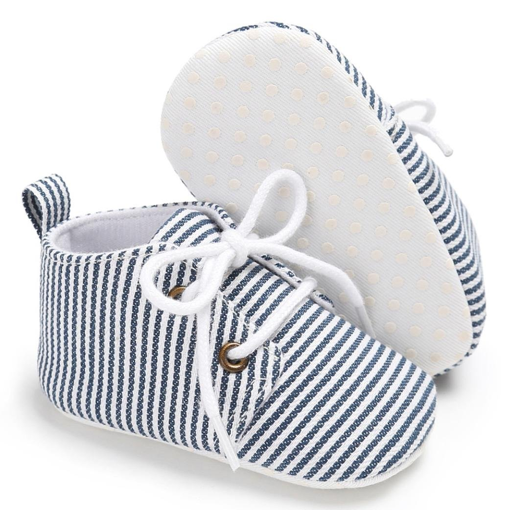 Voberry Baby Infant Girl Boys Stripe Shoes Soft Sole Crib Toddler Canvas Sneakers