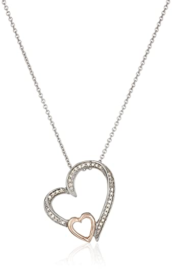 Amazon 14k rose gold over sterling silver diamond double heart 14k rose gold over sterling silver diamond double heart pendant necklace 110 cttw mozeypictures Image collections