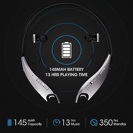 Mpow Jaws Gen-4 inalámbrica Bluetooth Auriculares con Banda para el Cuello Auricular V4.1, W/Llamada Vibración Alert, Bolsa de Transporte, ...