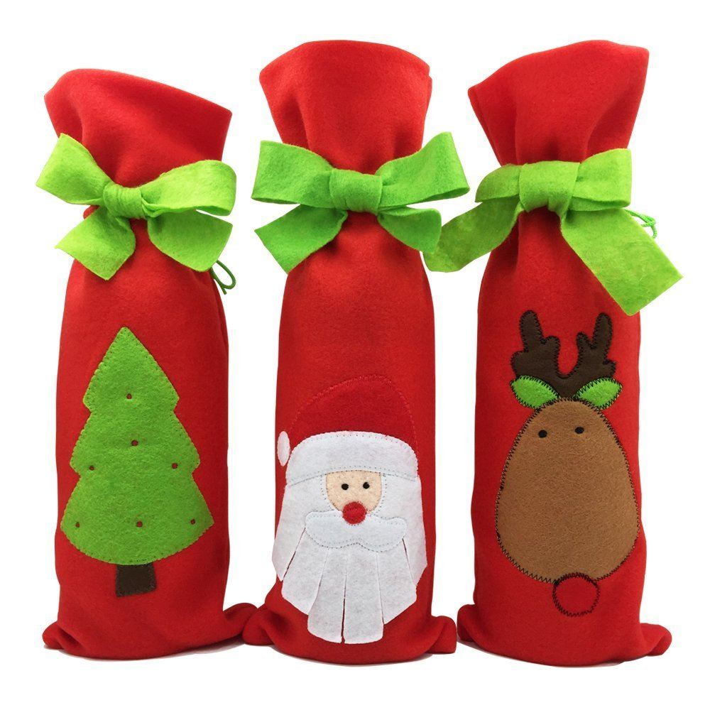 Homecube 3pcs Santa Claus Wine Bottle Cover Red Wine Bags with Pretty Tie Bags Set - Santa, Reindeer and Christmas Tree Party Hotel Kitchen Table Decor (A)