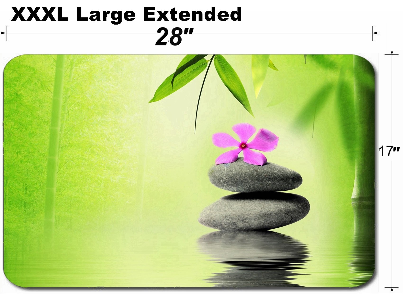 MSD Large Table Mat Non-Slip Natural Rubber Desk Pads Image 20152514 Zen Stone with Flower in Spa Concept