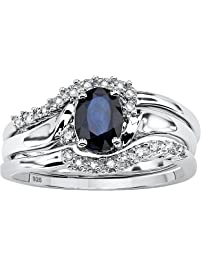 Genuine Blue Sapphire And Diamond Accent Platinum Over 925 Silver 2 Piece Bridal Ring