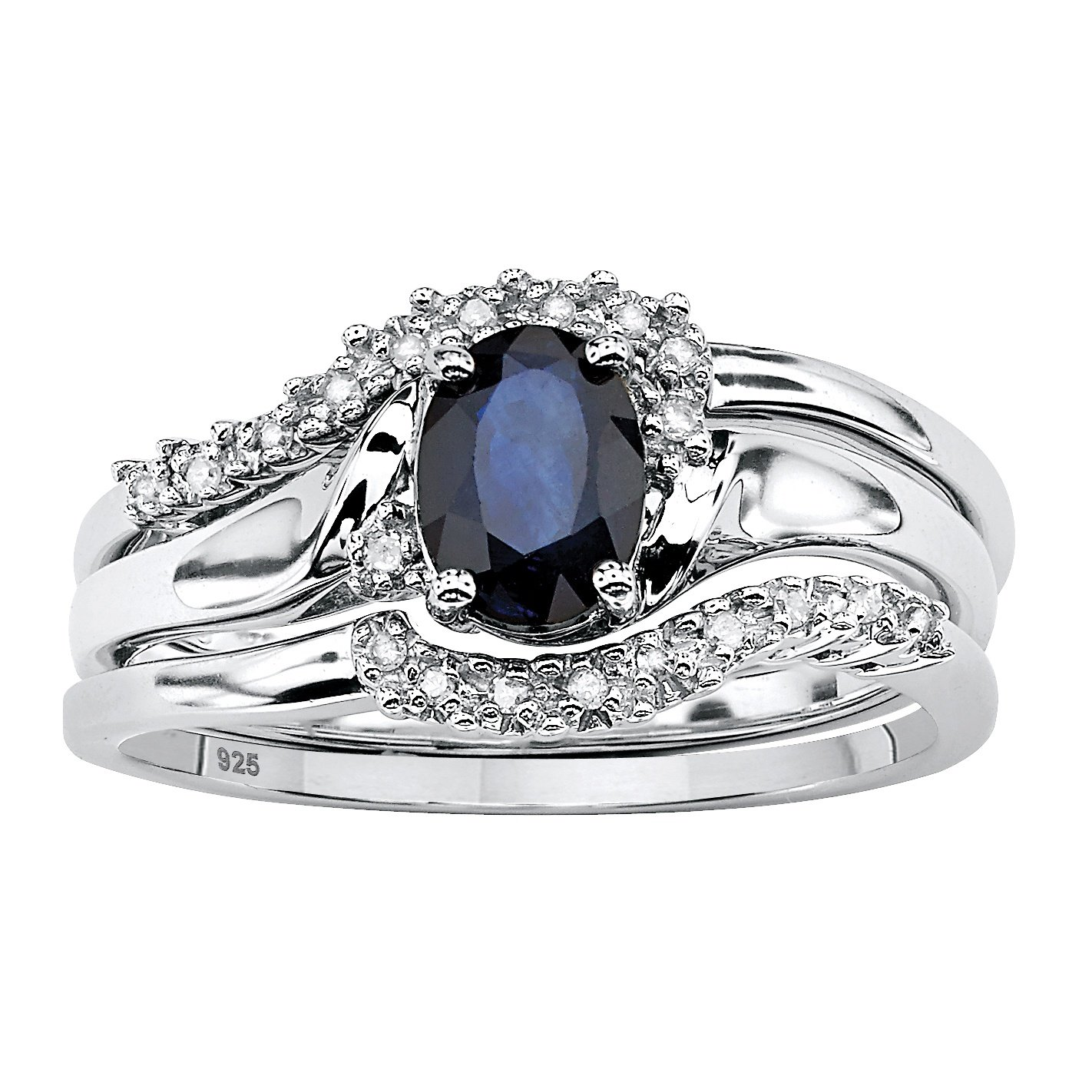 Genuine Blue Sapphire and Diamond Accent Platinum over .925 Silver 2-Piece Bridal Ring Set by Lux