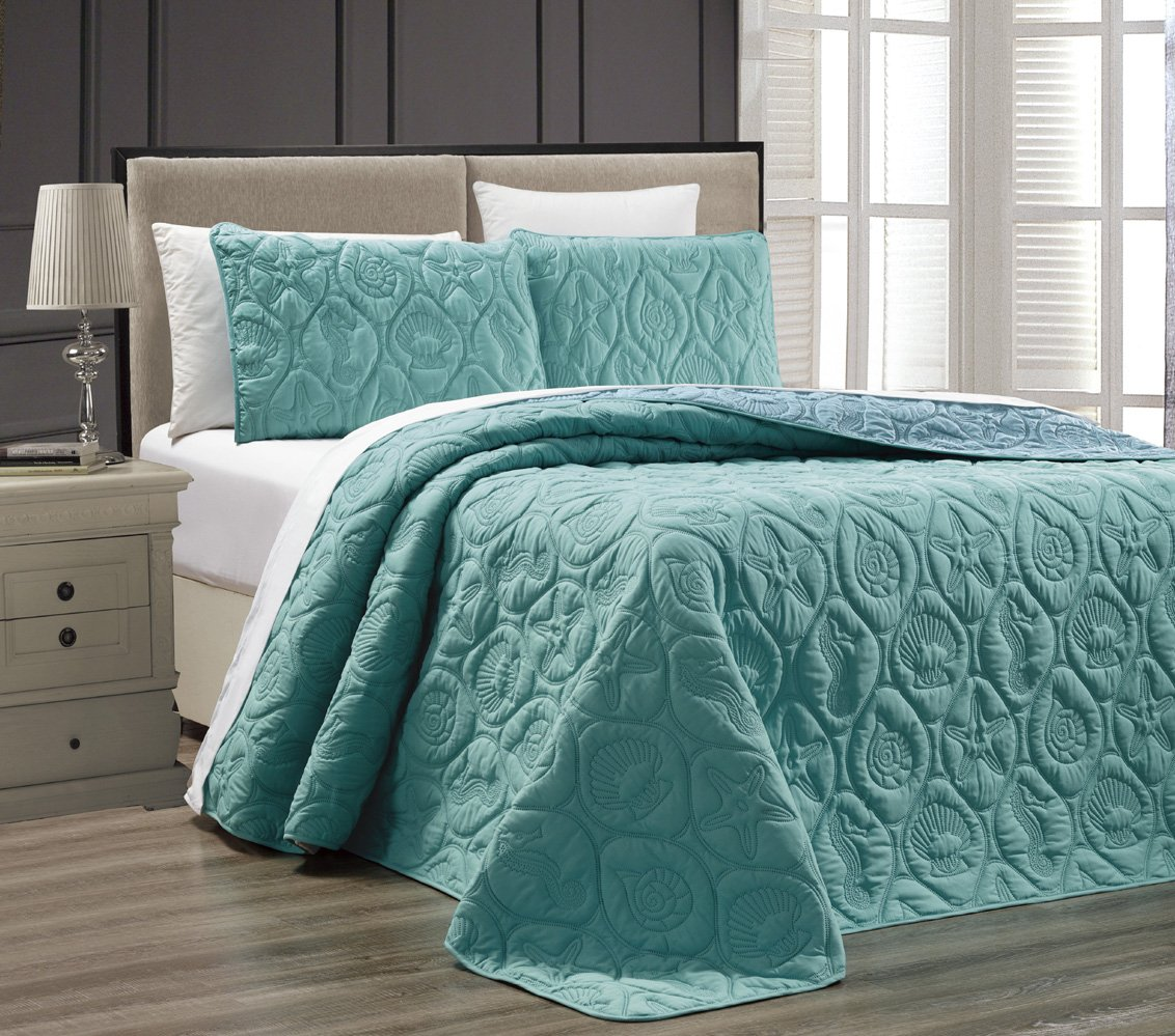 3-Piece Tropical Coast Seashell Beach (California) Cal King Oversize OVERSIZE Bedspread TURQUOISE / BLUE Reversible Coverlet Embossed Bed Cover set. Sea Shells, Sea Horse, Starfish etc.