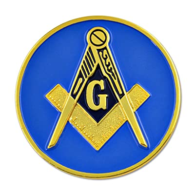 "Square & Compass Round Blue & Gold Masonic Auto Emblem - 3"" Diameter: Automotive"