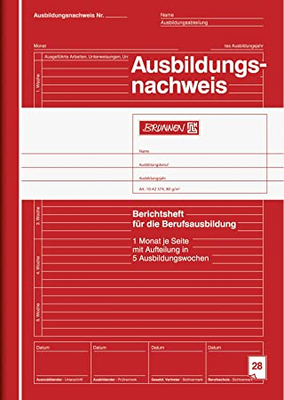 Brunnen 1042574 Note Pad Training Certificate A4 Lined 28 Red ...