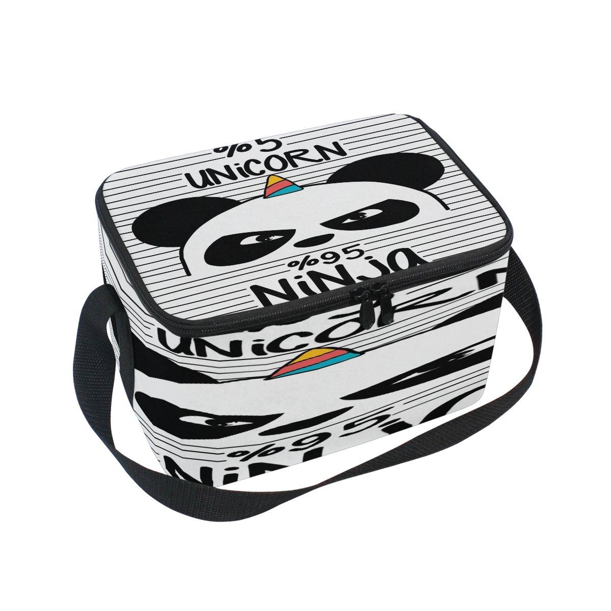 d75fd2ea8 Amazon.com: Use4 Cartoon Panda Unicorn Striped Black White Insulated Lunch Bag  Tote Bag Cooler Lunchbox for Picnic School Women Men Kids: Kitchen & Dining