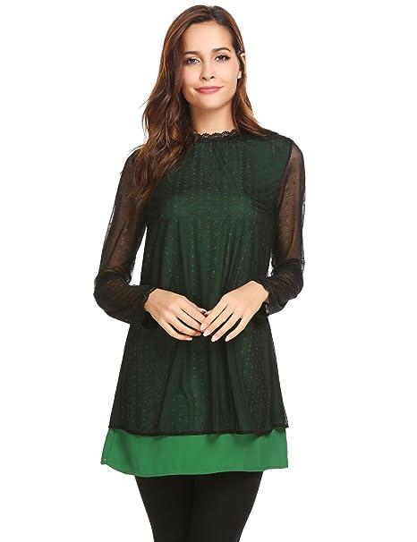 fa387008fe7 Zeagoo Womens Sheer Long Sleeve Lace Blouse Crew Neck A Line Chiffon Casual  Tunic Shirts Dark