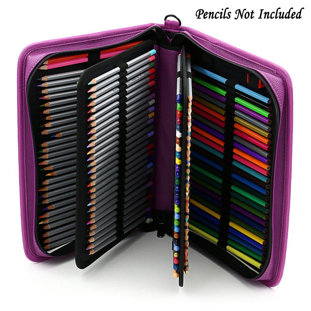 Violet sac de crayon pour Dessinateur Professionnelle ou Amateur Sumnacon 160 PU cuir Trousse de crayon avec sangle /à /épaule