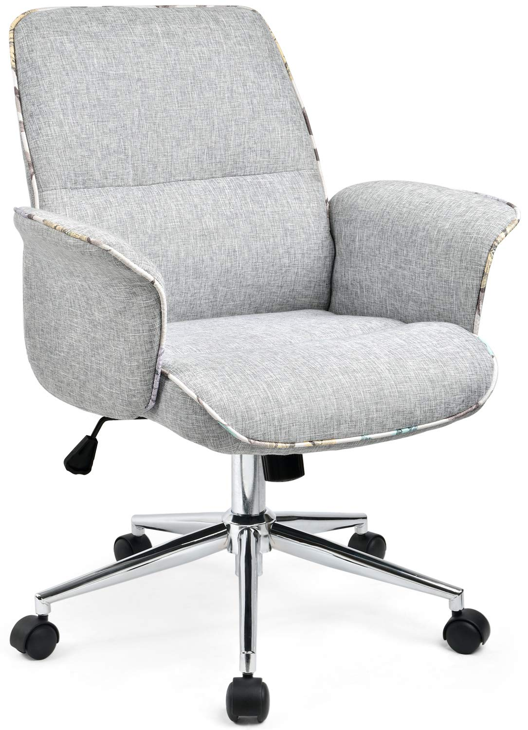 Miraculous Comhoma Home Office Desk Chair Modern Fabric Upholstered Adjustable Mid Back Ergonomic Executive Conference Chair Grey Download Free Architecture Designs Scobabritishbridgeorg