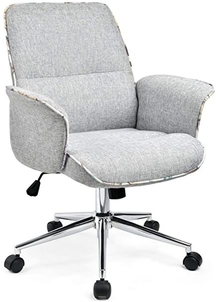 Awesome Comhoma Home Office Desk Chair Modern Fabric Upholstered Adjustable Mid Back Ergonomic Executive Conference Chair Grey Download Free Architecture Designs Intelgarnamadebymaigaardcom