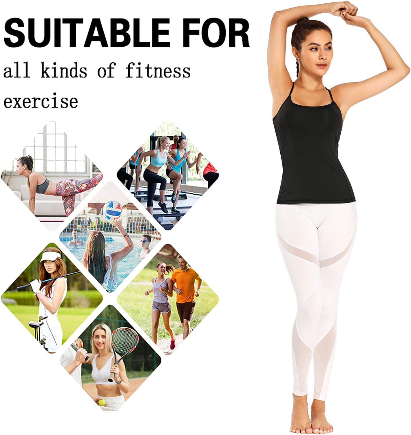 Women Strappy Workout Tank Tops Yoga Camisole with Built in Bra Phone Pocket