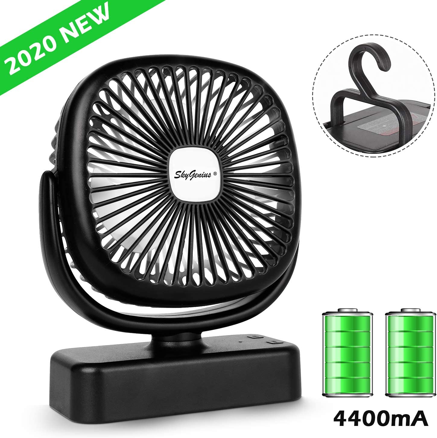 Portable LED Camping Lattern with Tent Fan, 4400mA Battery Operated Fans Mini Desk Fan for Office Home Kitchen