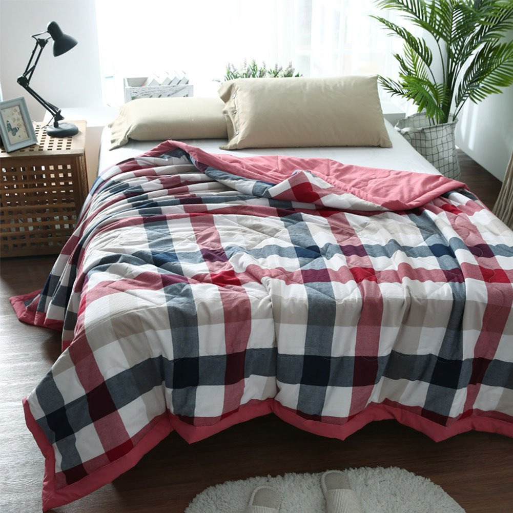 Uther Summer Thin Quilt Lightweight for Adults and Teens, Air Conditioning Cool Blanket with Checks Pattern Red Queen/Full