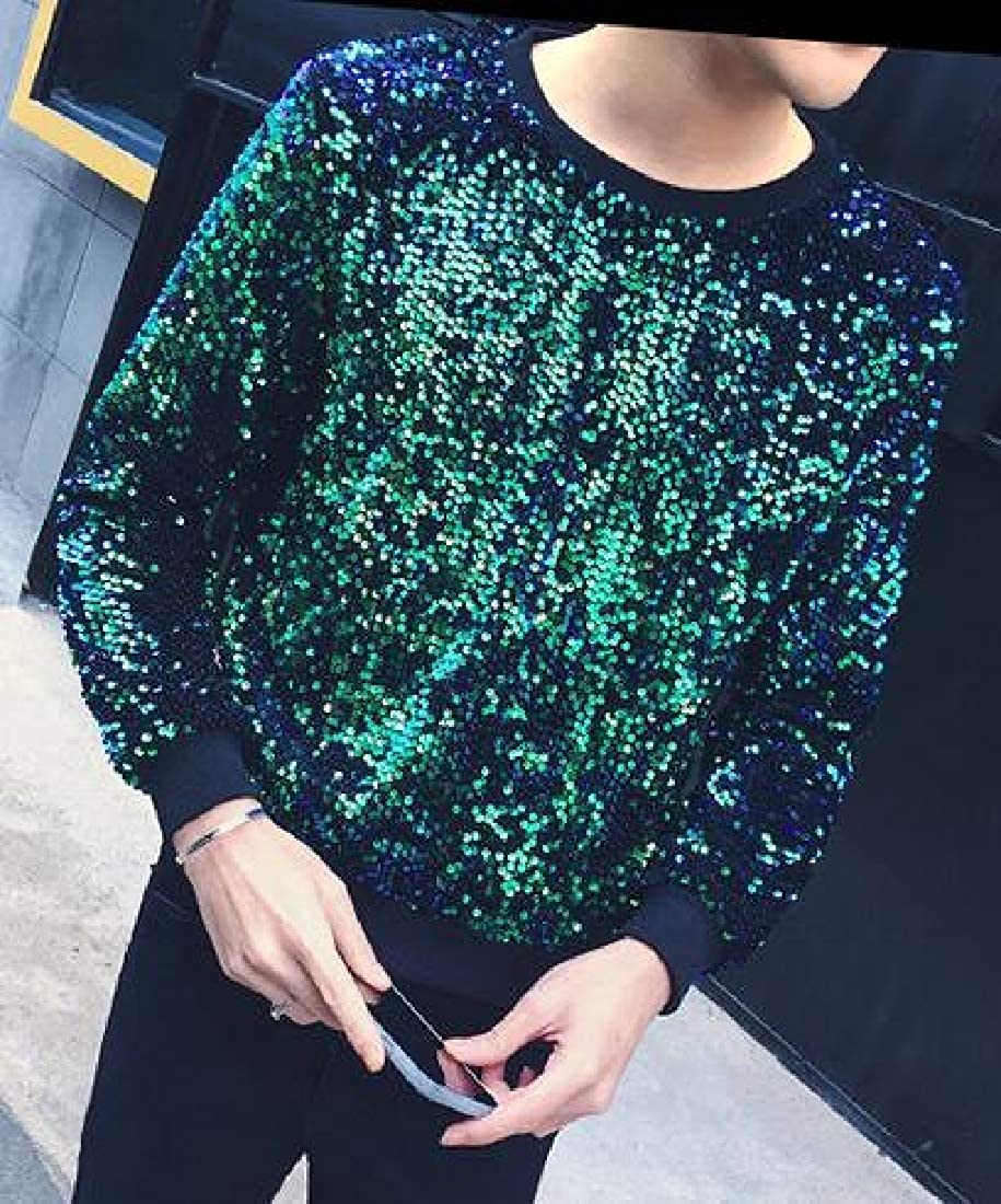 SHOWNO Men Sweatshirt Sequins Stylish Long Sleeve Club Prom Dance Pullover T-Shirt Top