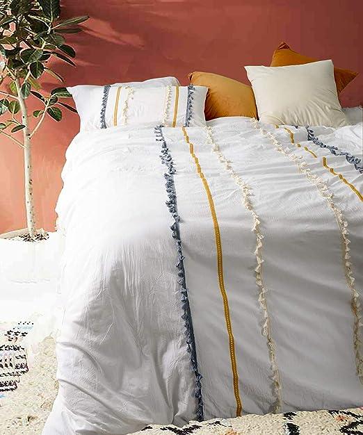 Amazon Com Flber Boho Duvet Cover Queen Cotton Bedding White