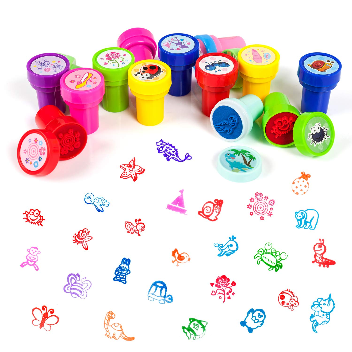 Teacher Stamps Party Favor Surprise Eggs for Easter Basket Stuffers HOOJO 48 Pieces Prefilled Easter Eggs with Assorted Stamps for Kids
